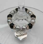 Brother Wine Glass Charm - Full Sparkle Style